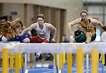 BROOKINGS, SD - FEBRUARY 25:  Jay Cooper from the University of South Dakota battles to the line with Ryan Enerson from North Dakota State University in the men's 60 meter hurdles at the 2017 Summit League Indoor Track and Field Championship Saturday afternoon in Brookings, SD. (Photo by Dave Eggen/Inertia)