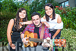 Tom Lucey with his backing singers Aoibhe O'Connor and Tracey Kerins at his new CD launch concert in the Gleneagle Hotel on friday evening