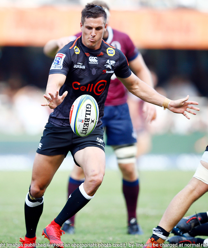 Louis Schreuder (captain) of the Cell C Sharks during the super rugby match between the Cell C Sharks and the Queensland Reds at Jonsson Kings Park Stadium in Durban, South Africa 19th April 2019. Photo: Steve Haag / stevehaagsports.com
