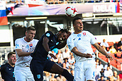 June 19th 2017, Kielce, Poland; UEFA European U-21 football championships, England versus Slovakia; Nathaniel Chalobah (ENG) and Martin Valjent (SLO) challenge for a header