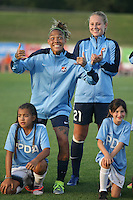Piscataway, NJ - Saturday Aug. 27, 2016: Tasha Kai, Leah Galton prior to a regular season National Women's Soccer League (NWSL) match between Sky Blue FC and the Chicago Red Stars at Yurcak Field.