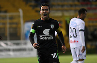 BOGOTA - COLOMBIA - 2-10-2015: Stalin Motta jugador de La Equidad celebra su gol contra el Once Caldas durante partido  por la fecha 15 de la Liga Aguila II 2015 jugado en el estadio Metropolitano de Techo. / Stalin Motta player of La Equidad  celebrates his goal against of Once Caldas  during a match for the fifteen date of the Liga Aguila II 2015 played at Metroplitano de Techo  stadium in Bogota city. Photo: VizzorImage / Felipe Caicedo / Staff.