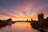 Sunrise, Charles River, rowing, from BU Bridge, Boston, MA with Boston University on right