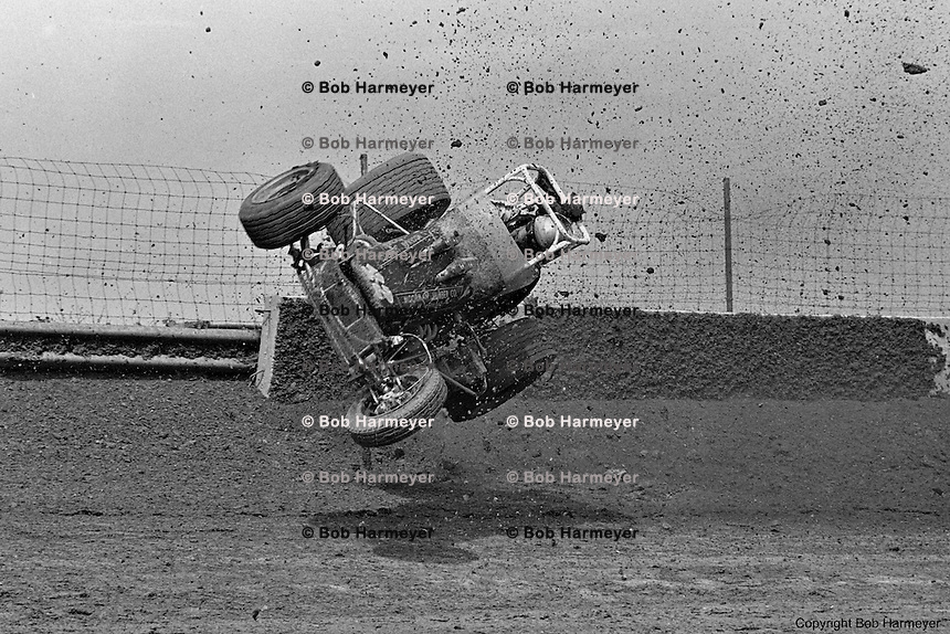 ROSSBURG, OH: Frame #4 of Gary Bettenhausen's crash during a 1977 USAC Sprint Car race at Eldora Speedway near Rossburg, Ohio.