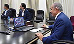Palestinian Prime Minister Mohammad Ishtayeh, meets senior high school nationwide via a video link, in the West Bank city of Ramallah, on July 13, 2020. Photo by Prime Minister Office