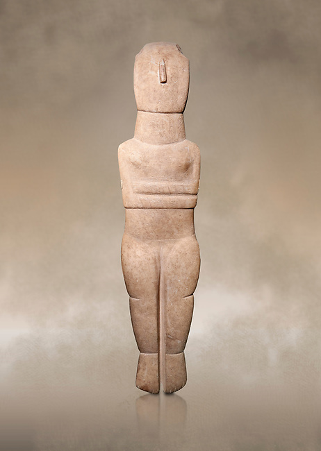 Female Cycladic Canonical type, Spedos variety female figurine statuette. Early Cycladic Period II from Syros phase , (2800-2300 BC). Museum of Cycladic Art Athens, <br /> <br /> Traces of painted decoration in red were found on the face and trunk. The nose was painted completely and four verticle bands are visible in the forehead, three on the neck and traces of bands on the chest and oblique bands on the forearms, seven on the left four on the right.