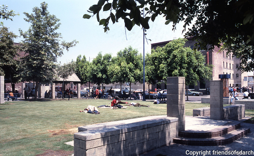 Los Angeles: Skid Row Park--Entrance. Note framing device--step up, step down. Photo '86.