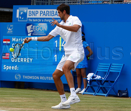 16.06.12 Queens Club, London, ENGLAND: ..Marin Cilic CRO..mens singles semi-final round match during Marin Cilic CRO  versus Sam Querrey USA on day Six of the Aegon Championships at Queens Club ..on June 16, 2012 in London , England.........
