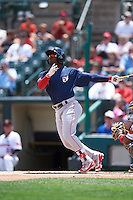 Pawtucket Red Sox center fielder Rusney Castillo (26) hits a home run during a game against the Rochester Red Wings on June 29, 2016 at Frontier Field in Rochester, New York.  Pawtucket defeated Rochester 3-2.  (Mike Janes/Four Seam Images)