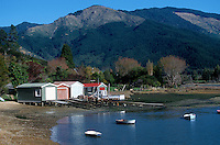 Boathouses along Queen Charlotte Sound, South Island, New Zealand