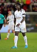 A disappointed Bafetimbi Gomis of Swansea after the Barclays Premier League match between Swansea City and Bournemouth at the Liberty Stadium, Swansea on November 21 2015