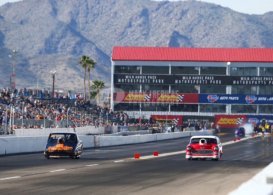 Feb 25, 2017; Chandler, AZ, USA; NHRA top sportsman driver Rod Moore (left) races alongside John Taylor Jr during qualifying for the Arizona Nationals at Wild Horse Pass Motorsports Park. Mandatory Credit: Mark J. Rebilas-USA TODAY Sports