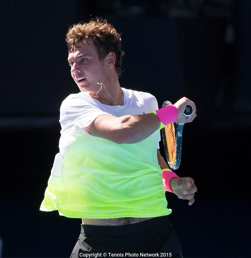 ROMAN SAFIULLIN (RUS)<br /> <br /> Tennis - Australian Open 2015 - Grand Slam -  Melbourne Park - Melbourne - Victoria - Australia  - 31 January 2015. <br /> &copy; AMN IMAGES