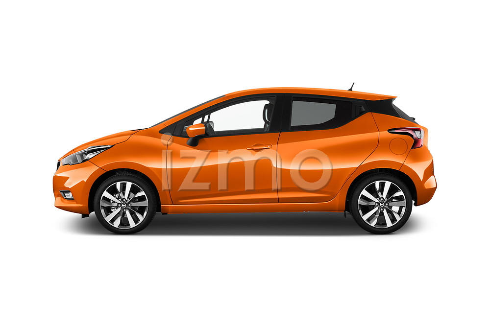 Car Driver side profile view of a 2017 Nissan Micra Tekna 5 Door Hatchback Side View