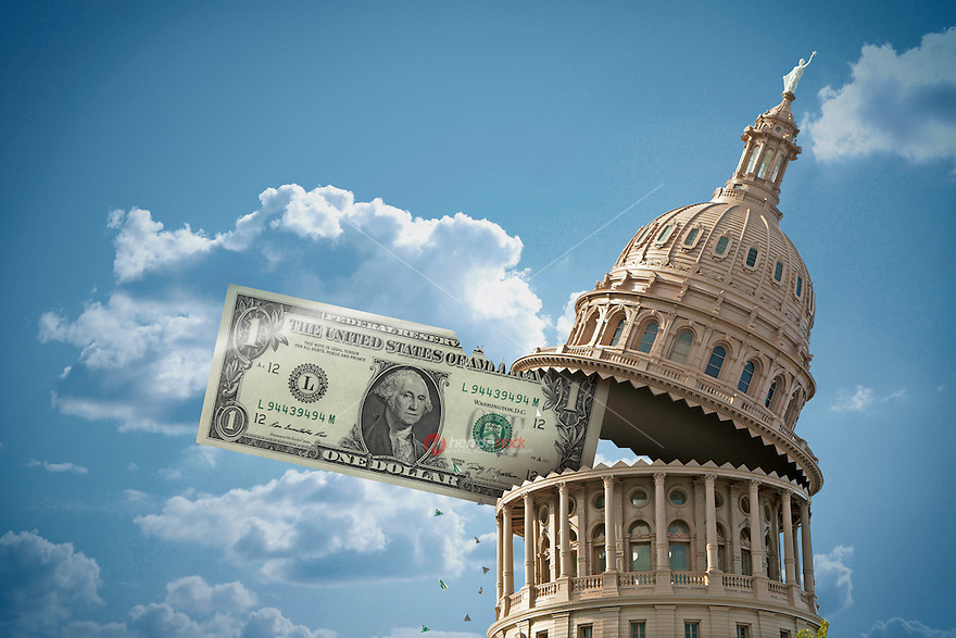 Texas State Government Budget cuts with Capitol Dome eating budget dollars, US currency illustration
