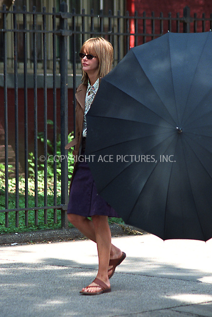 "Meg Ryan on the set of her latest film ""In the Cut."" East Village, New York, July 24, 2002. Please byline: Alecsey Boldeskul/NY Photo Press.   ..*PAY-PER-USE*      ....NY Photo Press:  ..phone (646) 267-6913;   ..e-mail: info@nyphotopress.com"