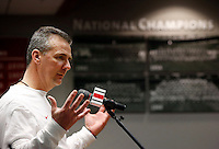 Ohio State Buckeyes head coach Urban Meyer talks to media during a press conference for the college football national championship at the Woody Hayes Athletic Center on Jan. 6, 2015. (Adam Cairns / The Columbus Dispatch)