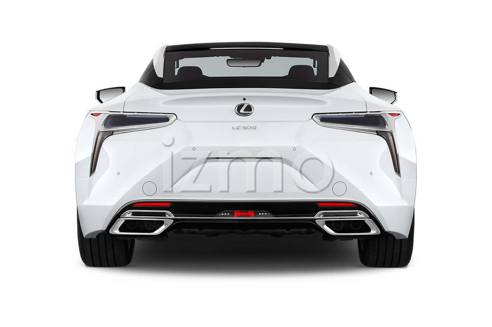 Straight rear view of a 2018 Lexus LC 500 Sport Plus 2 Door Coupe stock images