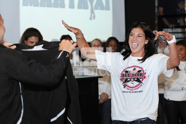 Hope Solo celebrates being the first overall pick during the Women's Professional Soccer (WPS) All-Star Pick 'em Event at Stats in Atlanta, GA, on June 28, 2010.