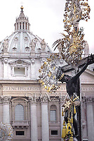 .Crucifix hold a Faithful  a Holy Mass for Confraternities.Pope Francis leads a Holy Mass for Confraternities at St Peter's square at the Vatican. May 5, 2013
