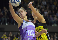 Maia Wilson takes a pass during the ANZ Premiership netball match between the Central Pulse and Northern Stars at the TSB Bank Arena in Wellington, New Zealand on Monday, 13 May 2019. Photo: Dave Lintott / lintottphoto.co.nz