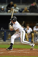 Vanderbilt Commodores infielder Will Toffey (10) at bat during a game against the Indiana State Sycamores on February 20, 2015 at Charlotte Sports Park in Port Charlotte, Florida.  Vanderbilt defeated Indiana State 3-2.  (Mike Janes/Four Seam Images)
