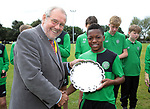 Karamoko Dembélé is presented with the player of the tournament at the Youdan Trophy 2016 by former sports minister Richard Caborn, United Kingdom on 4 August 2016. Photo by Glenn Ashley Photography
