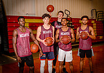 WATERBURY, CT. 16 March 2018-031618BS25 - The Sacred Heart starting five pose from left, Raheem Solomon, Zachary Francisco, Connor Tierney, in back, Andre Anderson, and Isiah Gaiter all pose for a photo before the finals of the Div 1 Sate Championships on Sunday at Sacred Heart High School on Friday afternoon. Bill Shettle Republican-American