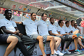 01.08.2015. Cologne, Germany. Pre Season Tournament. Colonia Cup. FC Cologne versus Stoke City.  Stoke City bench, unselected squad members enjoying the pre-match entertainment. Mame Diof, Geoff Cameron, Shay Given, Marc Wilson, Bojan Krkic, Peter Crouch.