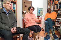 "Barrie Baker (center), of Waltham, Mass., speaks during a support group for people who have had electroconvulsive therapy (ECT) led by former Massachusetts governor Michael Dukakis and his wife Kitty Dukakis in their home in Brookline, Massachusetts, USA, on Sun., Dec. 4, 2016. Kitty Dukakis used ECT to treat depression and substance abuse issues. She continues to have ECT treatments about once every seven or eight weeks. Also pictured here are her husband Jimmie Baker, Jr. (right) and Merritt Harrison, of Cambridge, Mass. It was the Bakers' first time attending the support group. A family practitioner, Barrie Baker said during the meeting that ""ECT saved my life twice."" Harrison's wife Kate MacDonald (not pictured) has had ECT and Harrison came to the support group to offer support to his wife."