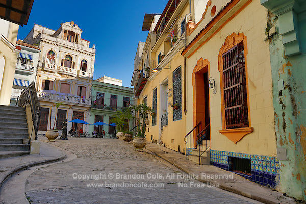 TH0029-Dm. A colorful square in Old Havana (Habana Vieja in Spanish), still quiet in the early morning. Havana, Cuba.<br /> Photo Copyright &copy; Brandon Cole. All rights reserved worldwide.  www.brandoncole.com