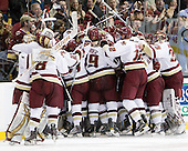 The Boston College Eagles celebrate the win. - The Boston College Eagles defeated the Boston University Terriers 3-2 (OT) in their Beanpot opener on Monday, February 7, 2011, at TD Garden in Boston, Massachusetts.