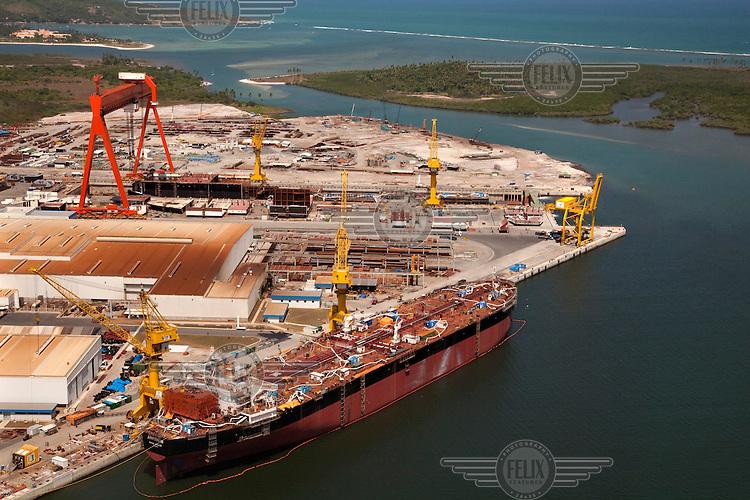 A shipped docked at Porto de Suape (Suape port).