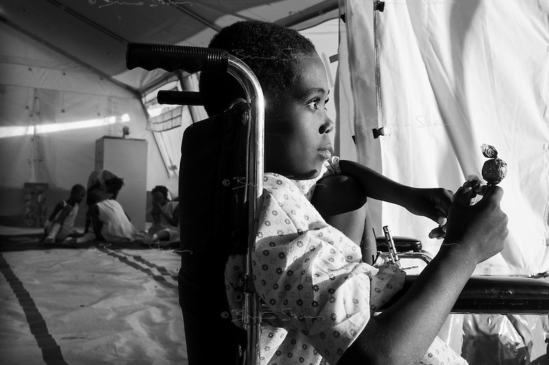 Port Au Prince, Haiti, Jan 27 2010.Nicholson Sama, 12, is one of the first patients in the MSF psychological unit. MSF France has set up a 180 beds field hospital in Delmas 33, featuring two surgical units, it will operate for a year..