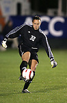 Boston College goalkeeper Arianna Criscione punts the ball on Wednesday, November 2nd, 2005 at SAS Stadium in Cary, North Carolina. The Duke University Blue Devils defeated the Boston College Eagles 2-0 during their Atlantic Coast Conference Tournament Quarterfinal game.