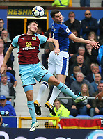 Michael Keane of Everton wins a header during the Premier League match between Everton and Burnley at Goodison Park on October 1st 2017 in Liverpool, England. <br /> Calcio Everton - Burnley Premier League <br /> Foto Phcimages/Panoramic/insidefoto