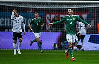 19th November 2019, Frankfurt, Germany; 2020 European Championships qualification, Germany versus Northern Ireland;  Goal celebration for 0 1 for Northern Ireland goalscorer Michael Smith