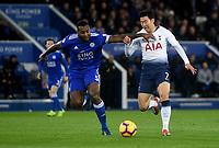 Leicester City's Wes Morgan battles with Tottenham Hotspur's Son Heung-Min<br /> <br /> Photographer Hannah Fountain/CameraSport<br /> <br /> The Premier League - Leicester City v Tottenham Hotspur - Saturday 8th December 2018 - King Power Stadium - Leicester<br /> <br /> World Copyright © 2018 CameraSport. All rights reserved. 43 Linden Ave. Countesthorpe. Leicester. England. LE8 5PG - Tel: +44 (0) 116 277 4147 - admin@camerasport.com - www.camerasport.com