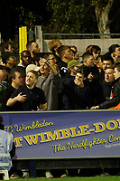 Milton Keynes Dons fans taunt the home support during the Sky Bet League 1 match between AFC Wimbledon and MK Dons at the Cherry Red Records Stadium, Kingston, England on 22 September 2017. Photo by Carlton Myrie / PRiME Media Images.