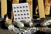 Rio de Janeiro,20 de Julho de 2012- No início d a tarde dessa  sexta-feira(20) , o batalham  de  ações com cães (BAC) da  polícia  militar, fizeram apreenssão de tabletes de  cocaída , materialpara  endolação,na  Praça  da  Concórdia na  comunidade do jacaré , zona  norte do  RJ , o material  foi levado  para  25ª DP no Rocha.<br /> Guto Maia / Brazil Photo Press