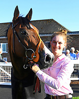 Amplify and Lass in the Winners enclosure after winningThe Saunton Sands Hotel North Devon Maiden Stakes during Evening Racing at Salisbury Racecourse on 25th May 2019