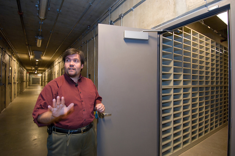 Mike Mashon, Head of Moving Image Section gives a tour of the new Library of Congress Packard Campus in Culpeper Virginia. Here he talks about the volts for film storage.
