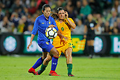 26th March 2018, nib Stadium, Perth, Australia; Womens International football friendly, Australia Women versus Thailand Women; Pikul Khueanpet of Thailand shields the ball against Alex Chidiac of the Matildas