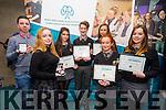 Award-winning students from Gaelcholáiste Chiarraí, Micheál Ó Moráin, Jane D'Altúin, Róisín Ní Churraí, Barra Ó Siochrú, Ríona Breathnach, Máire Ní Threantaigh and Caoimhe Ní Mhuircheartaigh at the awards in IT Tralee on Friday night