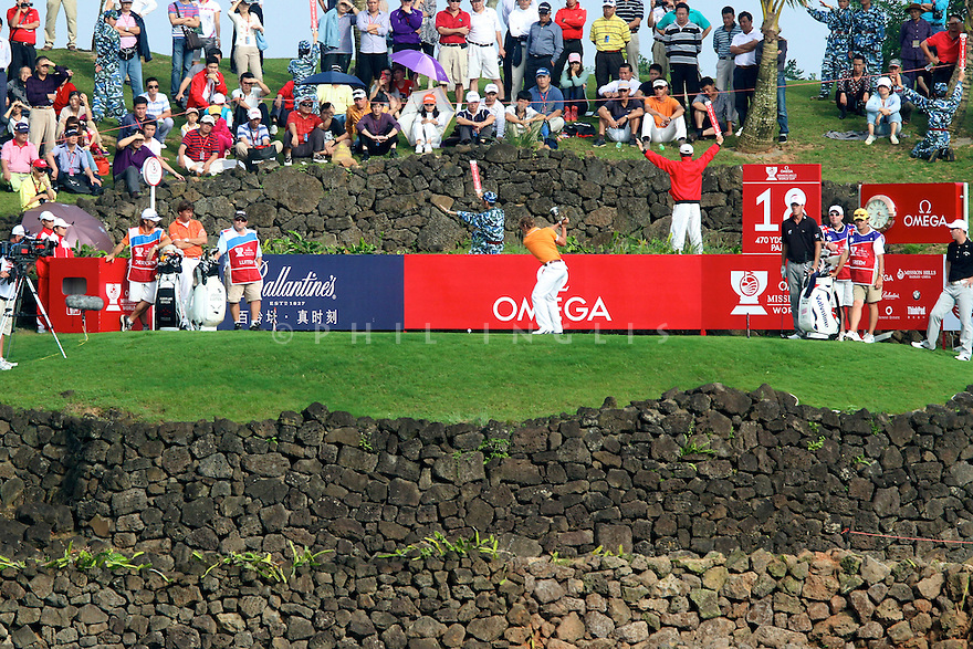 Joost Luiten (NED) in action during the final round of the Omega Mission Hills World Cup played at The Blackstone Course, Mission Hills Golf Club on November 27th in Haikou, Hainan Island, China.( Picture Credit / Phil Inglis )