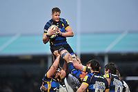 GJ van Velze of Worcester Warriors wins the ball at a lineout. Aviva Premiership match, between Worcester Warriors and Bath Rugby on February 13, 2016 at Sixways Stadium in Worcester, England. Photo by: Patrick Khachfe / Onside Images
