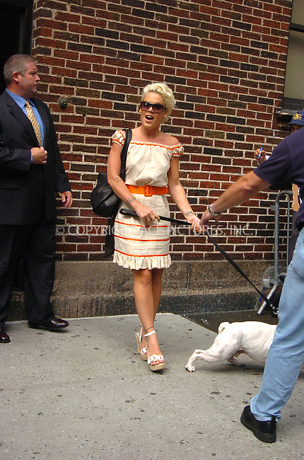 WWW.ACEPIXS.COM . . . . .  ....July 20, 2006, New York City. ....Pink stops by the Letterman Show.....Please byline: AJ Sokalner - ACEPIXS.COM..... *** ***..Ace Pictures, Inc:  ..(212) 243-8787 or (646) 769 0430..e-mail: info@acepixs.com..web: http://www.acepixs.com
