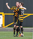 Alloa's Liam Buchanan (19) celebrates with Alloa's Mark Docherty after he scores their first goal.