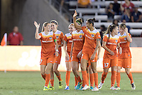 Houston, TX - Saturday Sept. 03, 2016: Kealia Ohai celebrates scoring, Poliana Barbosa during a regular season National Women's Soccer League (NWSL) match between the Houston Dash and the Orlando Pride at BBVA Compass Stadium.