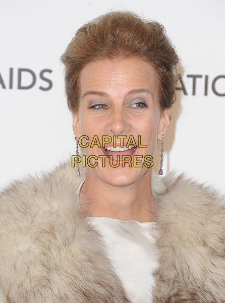Rachel Griffiths.The 21st Annual Elton John AIDS Foundation Academy Awards Viewing Party held at The City of West Hollywood Park in West Hollywood, California, USA..February 24th, 2013.oscars headshot portrait mouth open smiling dangling earrings beige cream silk satin brown fur wrap .CAP/DVS.©DVS/Capital Pictures.